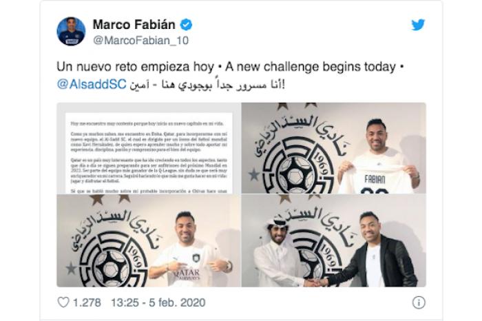 Marco Fabián fue presentado con su nuevo club, el Al Sadd de Qatar