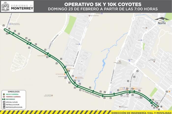 Anuncia Monterrey restricciones viales en Paseo de los Leones por carrera deportiva