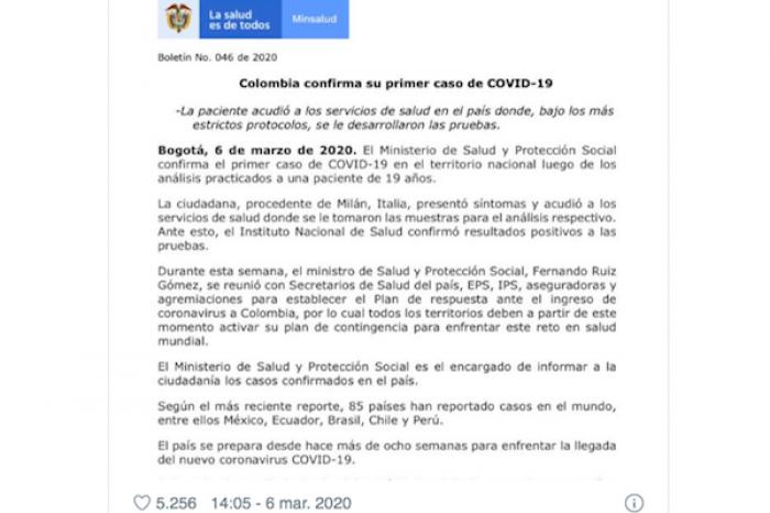 Se confirma el primer caso de COVID-19 en Colombia