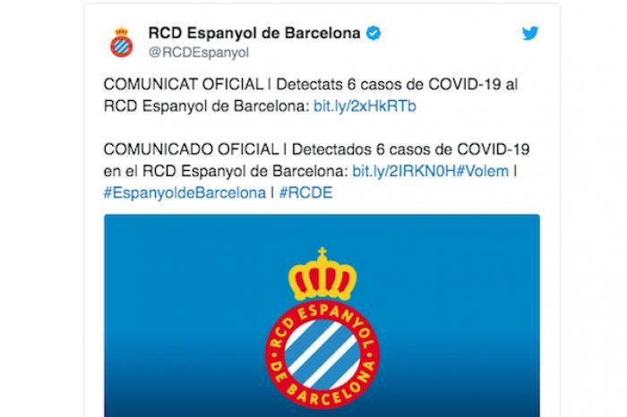 Espanyol de Barcelona confirma seis casos positivos de COVID-19