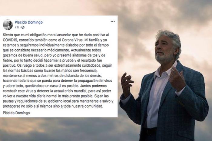 Confirma Plácido Domingo dar positivo a coronavirus