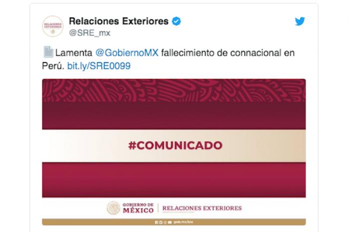 SRE Confirma muerte de un mexicano en Perú por coronavirus