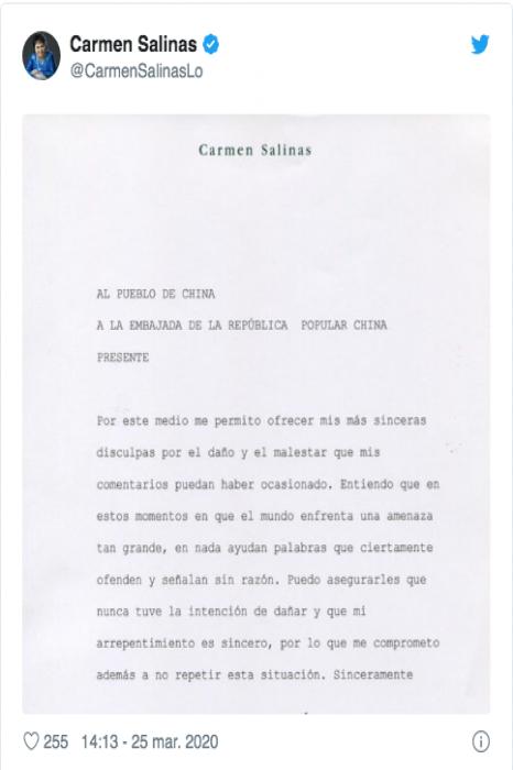 Se disculpa Carmen Salinas por comentario racista sobre coronavirus