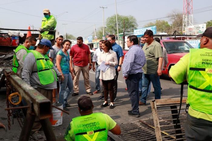 Intensifica Cristina Díaz Trabajos De Bacheo En Guadalupe