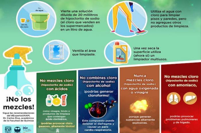 Mezclar productos de limpieza puede ser peligroso: académico de la UNAM