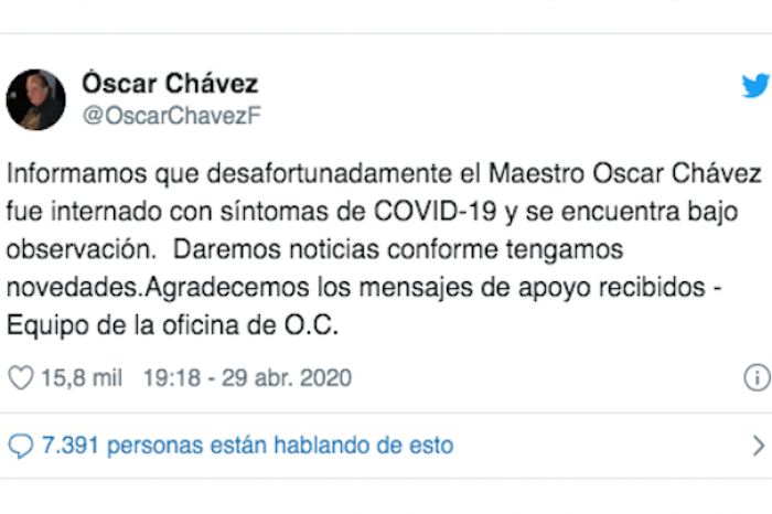 Hospitalizan a Óscar Chávez por síntomas de COVID-19