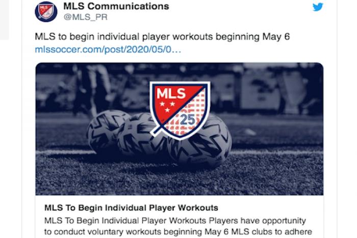 Equipos de la MLS regresarán a entrenamientos el próximo 6 de mayo