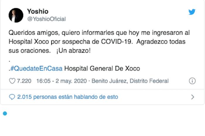 El cantante mexicano Yoshio fue hospitalizado por sospecha de COVID-19