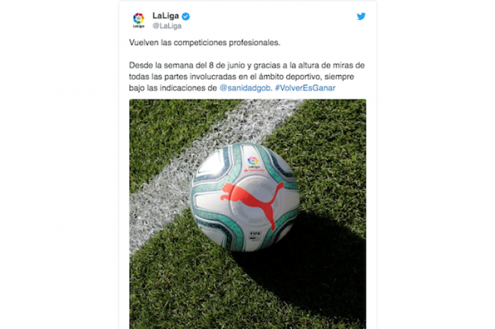 Liga española anuncian su regreso para el 8 de junio